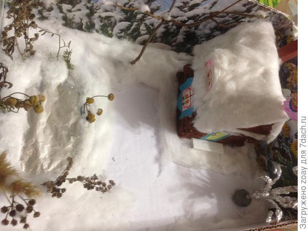 Установили деревья из веточек и проволки обернутой фольгой, справа приклеили крук который иметирует ледяной каток обернутый фольгой. Края замаскировали ватой как сугробы.И на берегу как буд то растут кустики из сухих веточек.
