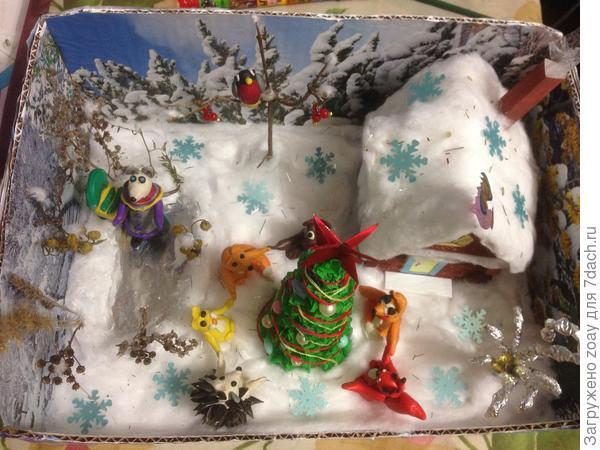 """Землю всю уложили ватой-снег,установили елочку выполненную из бумаги наклеели бусины. Из пластелина вылепили ежика,зайчика,лисичек,мишку,белочку и мышку. Вот такая компания собралась встречать новый год. Мышка пошла кататься наконьках, а остальные стали в хоровод и поют песенку """"В лесу родилась елочка"""". На дерево сел снегирь тоже из пластелина вылеплен. Сверху посыпали снежинками вот и сказкачная ночь началась.      Я незнаю подойдет такая работа, может чаще надо снимать как идет процесс, следующий раз буду фотографировать больше."""