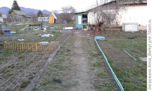 с левой стороны, где потом вырастут заросли жёлтого цветка, натянула верёвку,