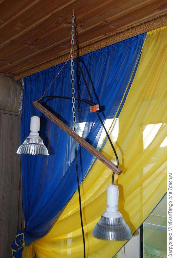 У меня например вот так висят.Зимой комнатные цветы досвечиваю.На цепочке очень удобно,можно поднять или опустить.Одна выше,другая ниже,под размер цветов подстроены.Для рассады такие лампы не использую.