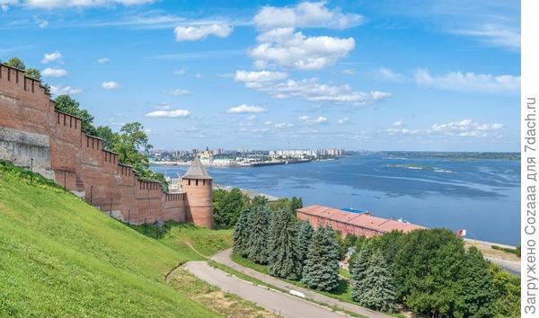 Вид на Волгу со стены Нижегородского кремля.