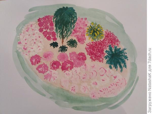 Вариант нежной клумбы в нежных бело-розовых-глубоко розовых тонах