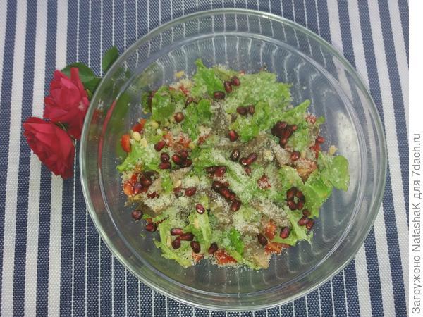 Теплый салат с печенью индейки