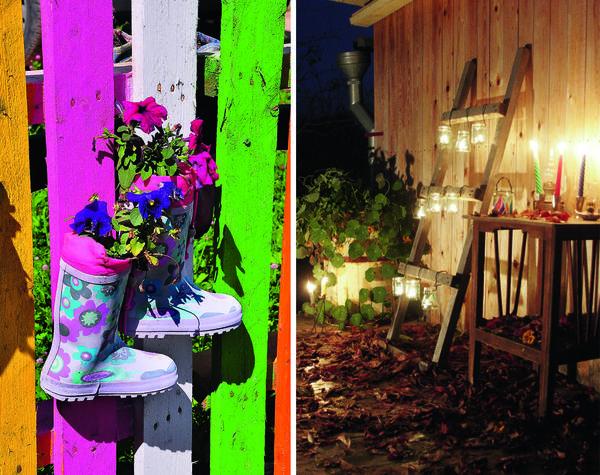 Лестница-торшер с подвешенными мерцающими свечами в любой вечер поможет создать уют и романтичную атмосферу.