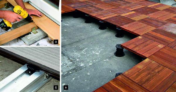 Простейшая опора для несущих балок - одиночные бетонные плитки