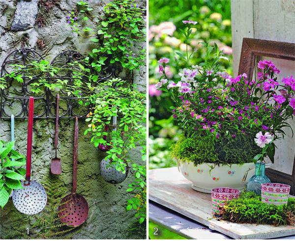 1. Шумовки для декора стены. 2. Старая супница вместо контейнера для цветов.