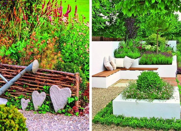 Слева: сердечки из бетона. Справа: Ансамбль из ширмы, приподнятых цветников и скамьи.