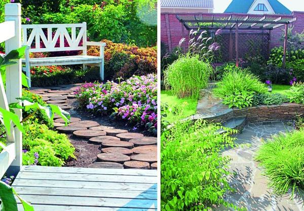 Дорожки из крупных спилов - эффектное и вполне бюджетное решение для оформления садовых путей.