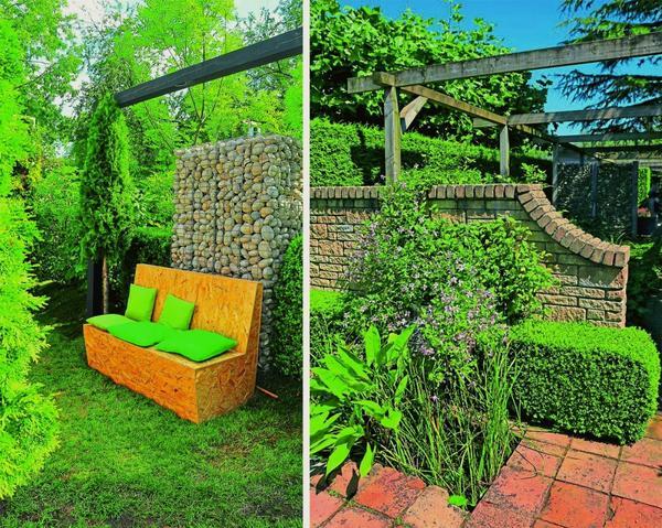 Слева: стильный габион скроет садовый диванчик от любопытных глаз и жарких солнечных лучей.  Справа: изящная стена из камня защитит от ветра и четко обозначит границы уголка для релакса, а низкие боскеты подарят свежесть в жаркий день.