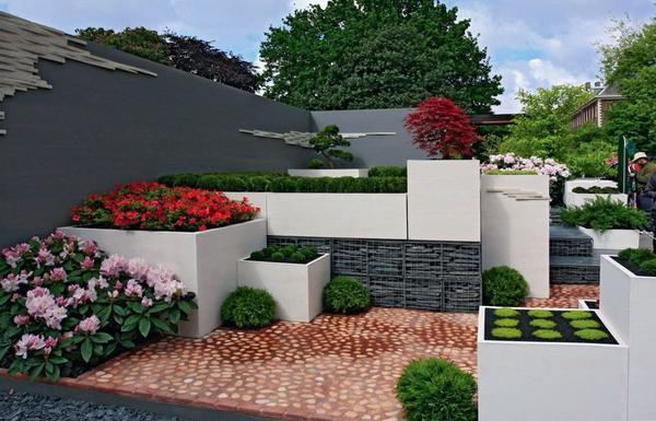 Прямые линии планировки придают садовому пейзажу определенную строгость.
