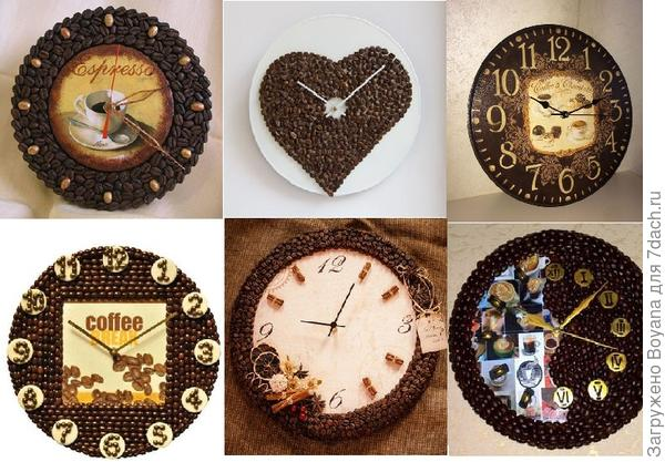 Часы из кофейных зерен. Фото с сайта /https://ru.pinterest.com/