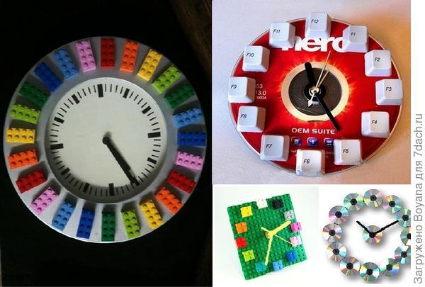 Часы из конструктора и деталей компьютера. Фото с сайта https://ru.pinterest.com/