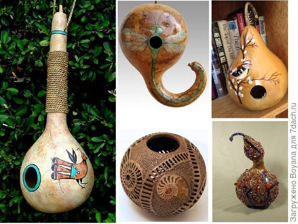 Изделия из тыквы-лагенарии. Фото с сайта/https://ru.pinterest.com/