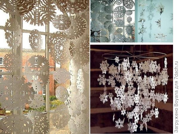 Гирлянды из бумажных снежинок. Фото с сайта /https://ru.pinterest.com/