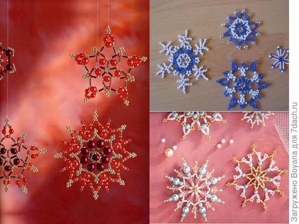 Снежинки из бисера. Фото с сайта /https://ru.pinterest.com/