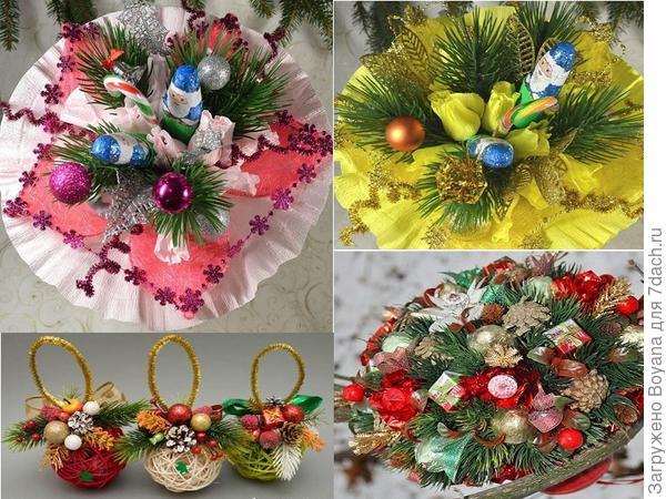 Новогодние букеты из конфет. Фото с сайта https://ru.pinterest.com/