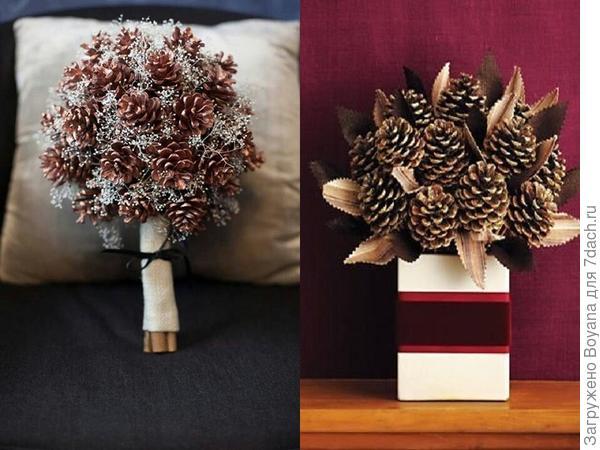 Новогодние букеты из шишек. Фото с сайта https://ru.pinterest.com/