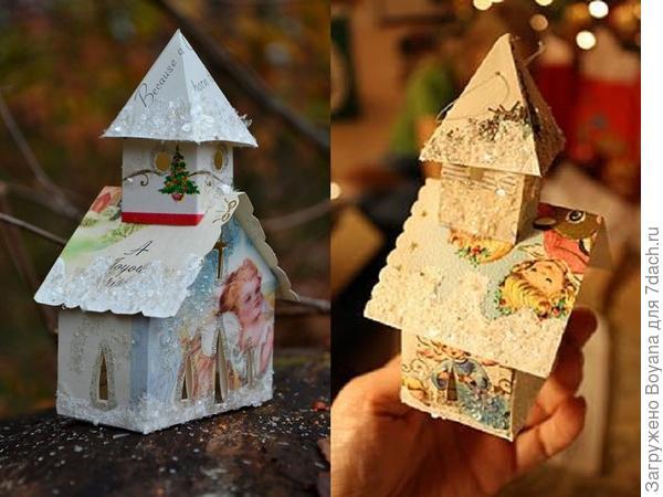 Новогодние домики из рождественских открыток. Фото с сайта https://ru.pinterest.com/