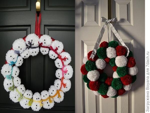 Рождественские венки из помпонов. Фото с сайта https://ru.pinterest.com/