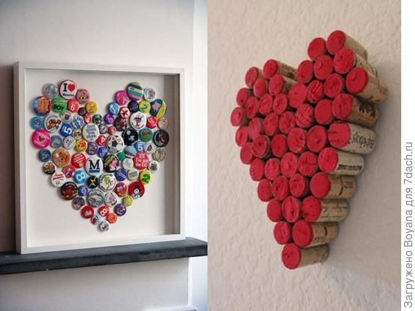 Сердца из пробок. Фото  с сайта /https://ru.pinterest.com/