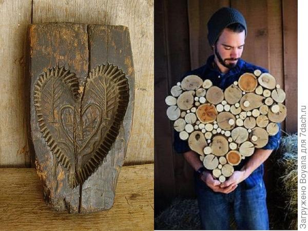 Сердца из древесины. Фото с сайта http://https://ru.pinterest.com/