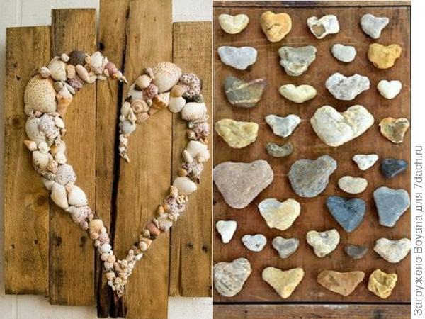 Сердца из ракушек и камешков. фото с сайта /https://ru.pinterest.com/