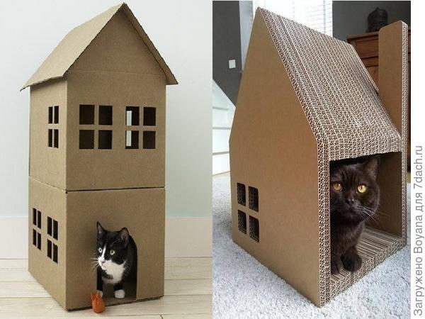 Дом для кошки из картона. Фото с сайта https://ru.pinterest.com/