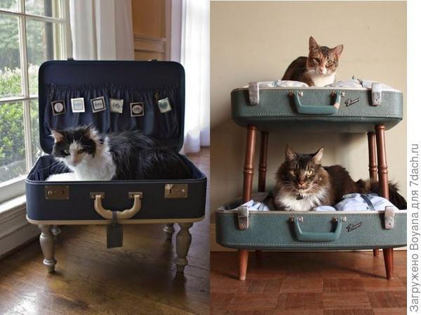 Лежанки из чемоданов. Фото с сайта https://ru.pinterest.com/