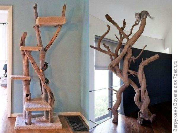 Кошачьи лазалки из дерева. Фото с сайта https://ru.pinterest.com