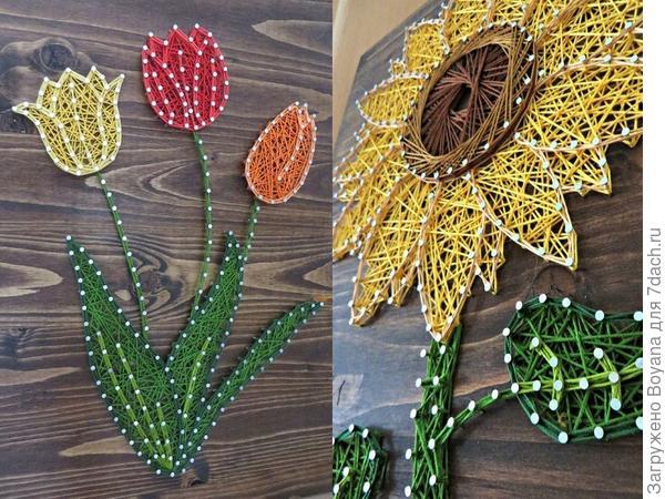 Стринг-арт: цветы. Фото с сайта ru.pinterest.com