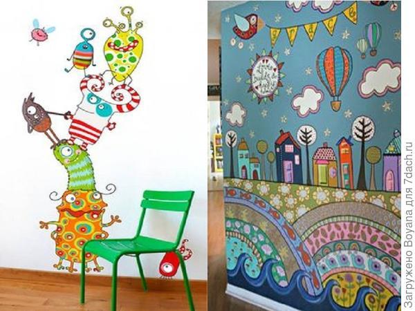 Детские рисунки на стенах. Фото с сайта ru.pinterest.com