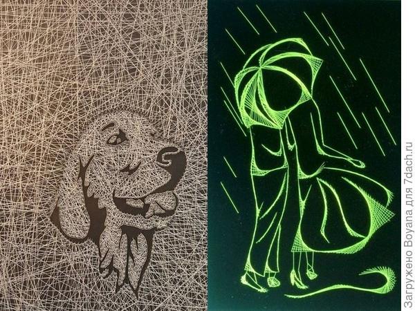Стринг-арт: портрет собака и силуэт под зонтом. Фото с сайта ru.pinterest.com