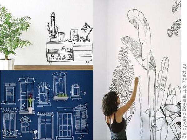 Веселые рисунки на стене. Фото с сайта ru.pinterest.com