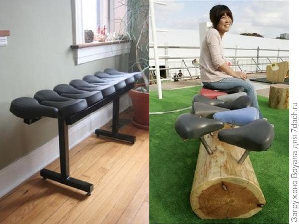 Скамейки из велосипедных сидений. Фото с сайта ru.pinterest.com