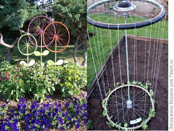 Украшения дачного участка из колес. Фото с сайта ru.pinterest.com