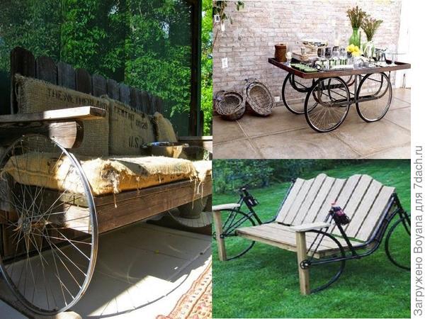 Дачные скамейки и передвижной столик. Фото с сайта ru.pinterest.com