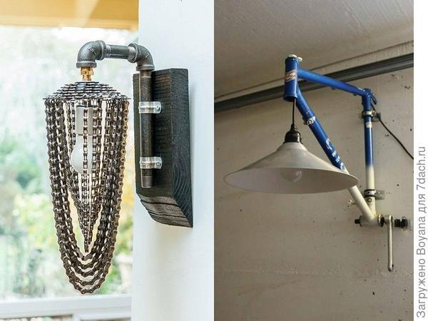Светильники из велосипедных деталей. Фото с сайта ru.pinterest.com