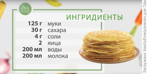 Рецепт тонких блинов