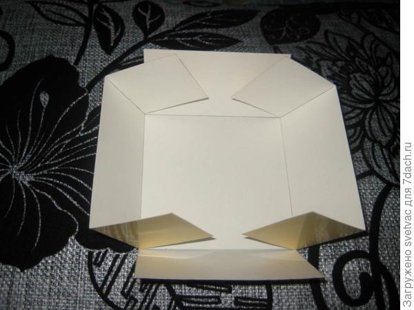Процесс разрезания и складывания коробки