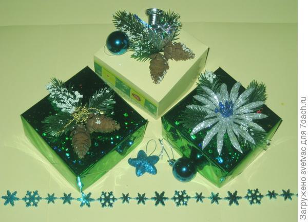 Образцы коробочек с новогодним декором