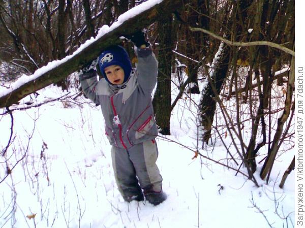 Ближе к полудню пошли с Тимофеем в поход. Путь ролегал через бурелом, овраги занесённые снегом, но было интересно. Мы же мужчины.