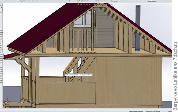 3D - наше: лестница, навес над крыльцом.