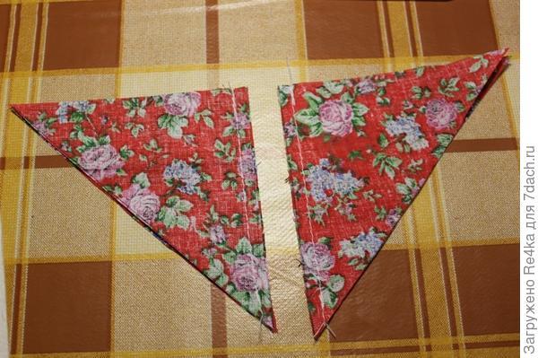 Сшиваем попарно четыре центральных треугольника.