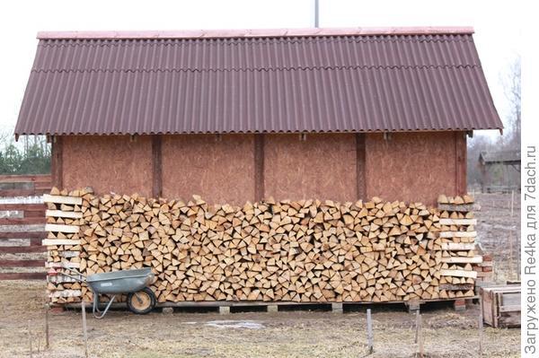Укладываем дрова под сенью бани. Владиленыч специально сделал для этого свесы побольше.