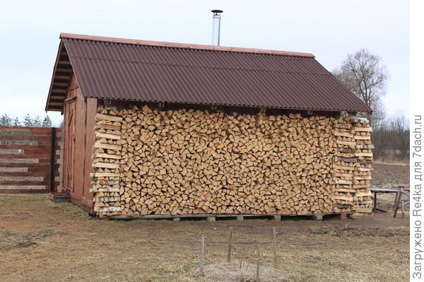 Также закончена укладка дров.