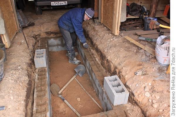 Грунт для отсыпки дорожки взяли у себя в гараже - мастерской. Владиленыч делает яму для литья колоколов. Также этой ямой можно будет воспользоваться для мелкого ремонта машины.