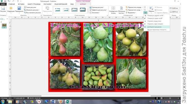 Поворот фото в Microsoft Office Publisher