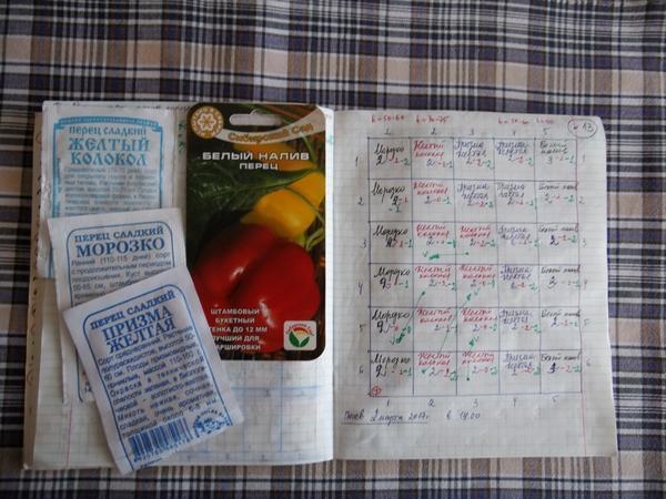 Пакетики из-под семян перцев Желтый колокол, Призма желтая, Белый налив и Морозко, а также записи о кассете, в которой эти семена посеяны