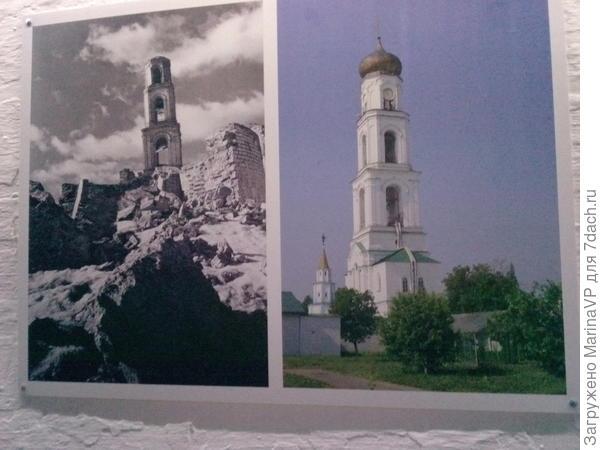 На последней фото видно в каком состоянии был монастырь в советское время, там была колония. А рядом фото уже отреставрированной башни.