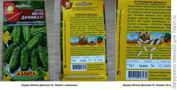 13 мая. Огурец Мечта дачника F1. Пакет с семенами.
